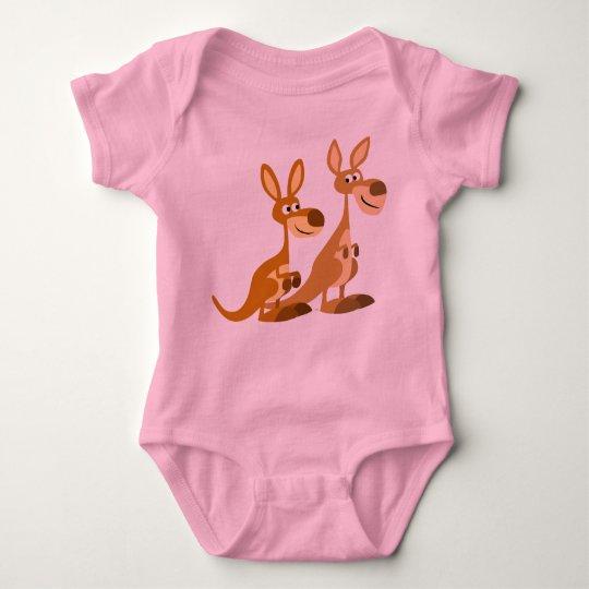 Two Cute Cartoon Kangaroos Baby Baby Bodysuit