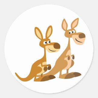 Two Cute Cartoon Kangaroos Round Sticker