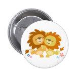 Two Cute Cartoon Lions Tango Button Badge