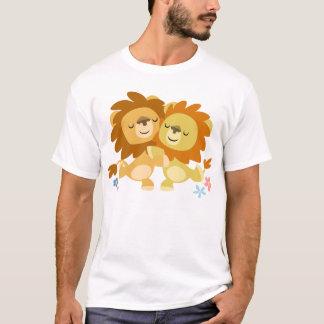 Two Cute Cartoon Lions Tango Children T-Shirt