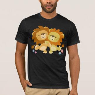 Two Cute Cartoon Lions Tango T-Shirt