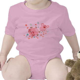 Two Cute Cartoon Pigs in Spring Baby Clothing Tshirt