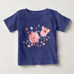 Two Cute Cartoon Pigs in Spring Baby T-Shirt