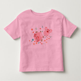Two Cute Cartoon Pigs in Spring Children T-Shirt