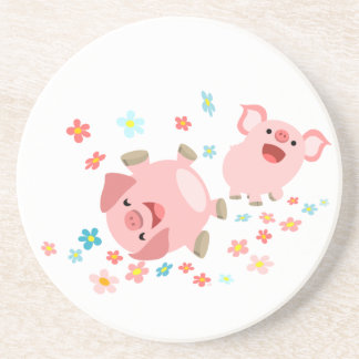 Two Cute Cartoon Pigs in Spring Coaster