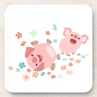 Two Cute Cartoon Pigs in Spring Coasters Set