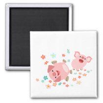 Two Cute Cartoon Pigs in Spring Magnet