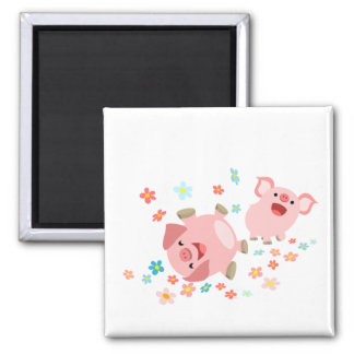 Two Cute Cartoon Pigs in Spring Magnet