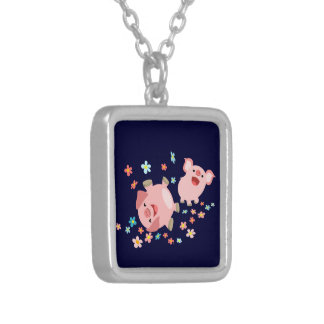 Two Cute Cartoon Pigs in Spring Necklace