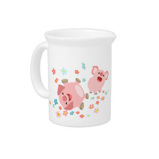Two Cute Cartoon Pigs in Spring Pitcher