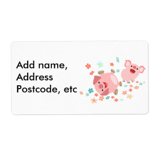 Two Cute Cartoon Pigs in Spring Shipping Label