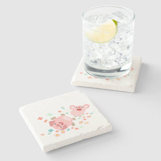 Two Cute Cartoon Pigs in Spring Stone Coaster