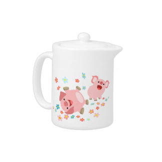 Two Cute Cartoon Pigs in Spring Teapot