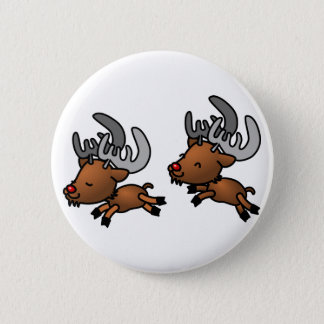 Two Cute Cartoon Reindeer/Caribou Button