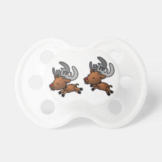 Two Cute Cartoon Reindeer Caribou Baby Pacifier
