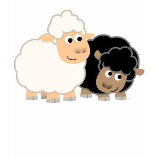 Two Cute Cartoon Sheep Children T-Shirt shirt