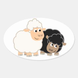 Two Cute Cartoon Sheep Sticker