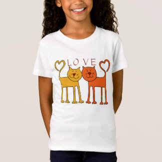 Two Cute Cats With Hearts T-shirt