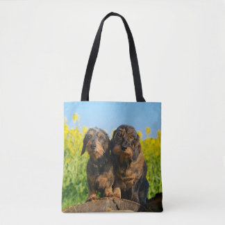 Two Cute Dachshunds Dogs Dackel Friends Pet Photo Tote Bag