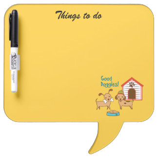 Two cute dogs with food and dog house dry erase board