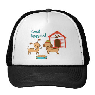 Two cute dogs with food and dog house trucker hat