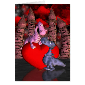 two cute dragons, one on a heart one looking up va card