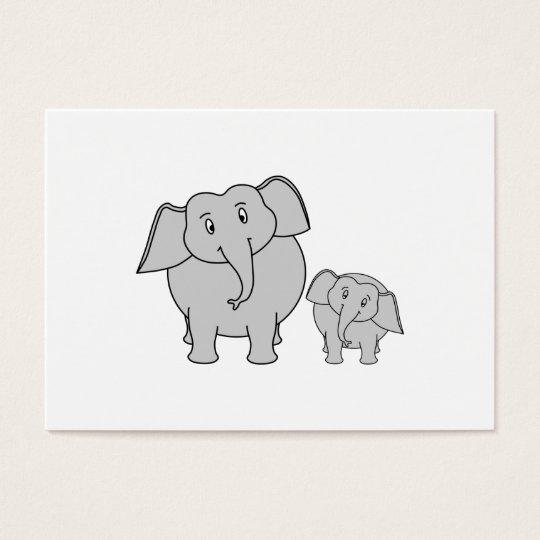 Two Cute Elephants. Cartoon. Business Card