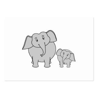 Two Cute Elephants. Cartoon. Large Business Card