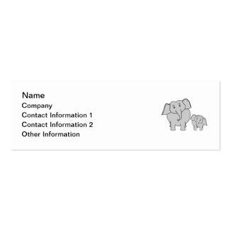 Two Cute Elephants. Cartoon. Mini Business Card