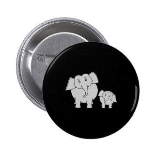 Two Cute Elephants. Cartoon on Black. 2 Inch Round Button