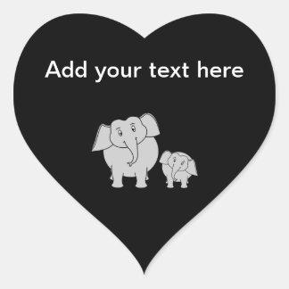Two Cute Elephants. Cartoon on Black. Heart Sticker
