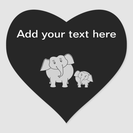 Two Cute Elephants. Cartoon on Black. Heart Sticker