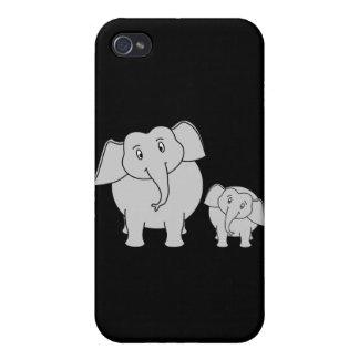 Two Cute Elephants. Cartoon on Black. iPhone 4/4S Cases