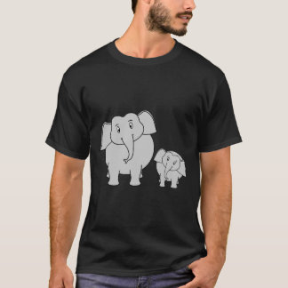 Two Cute Elephants. Cartoon on Black. T-Shirt