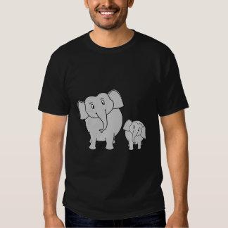 Two Cute Elephants. Cartoon on Black. Tee Shirt