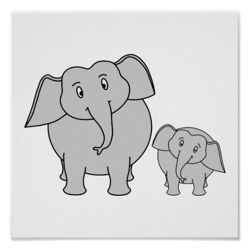 Two Cute Elephants. Cartoon. Poster