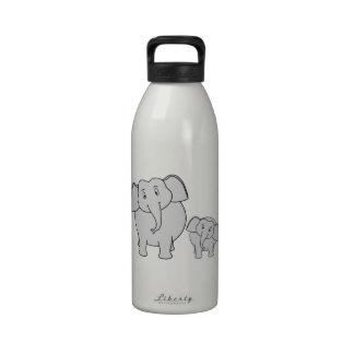 Two Cute Elephants. Cartoon. Water Bottles