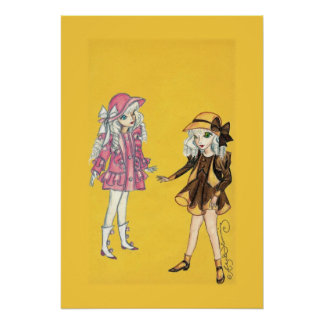 Two cute fashion girls with hats print