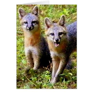TWO CUTE FOX GREETING CARD