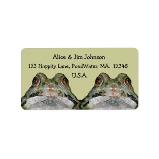 Two Cute Frogs in Pastel: Couple, Wildlife, Nature Label