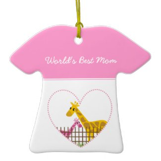 Two cute giraffes in a dotted heart Mother Child ornament