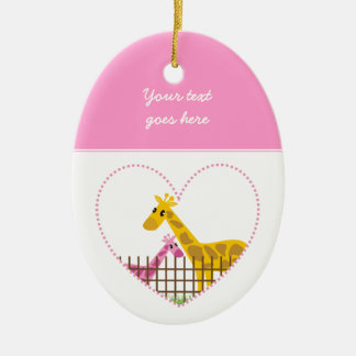 Two cute giraffes in a dotted heart Mother Child Double-Sided Oval Ceramic Christmas Ornament