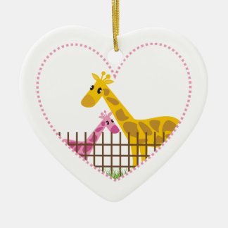 Two cute giraffes in a dotted heart Mother Child Double-Sided Heart Ceramic Christmas Ornament