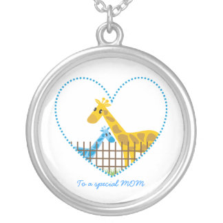 Two cute giraffes Mother baby boy Mother's Gift Silver Plated Necklace
