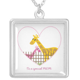 Two cute giraffes Mother baby girl Mother's Gift Silver Plated Necklace