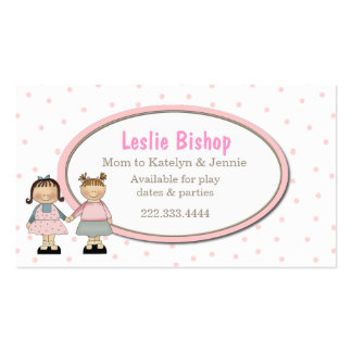Two Cute Girls Play Date Card Business Card Template