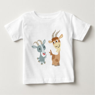 Two Cute Happy Cartoon Goats Baby T-Shirt