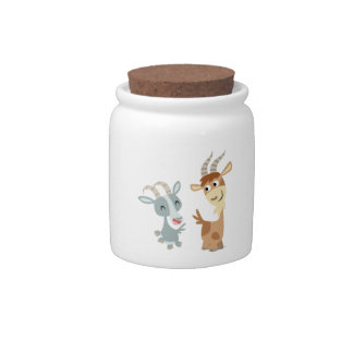 Two Cute Happy Cartoon Goats Candy Jar