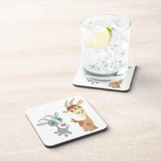 Two Cute Happy Cartoon Goats Coasters Set