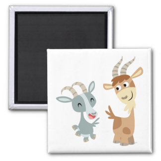 Two Cute Happy Cartoon Goats Magnet